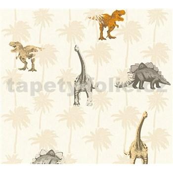 Detské vliesové tapety na stenu Little Stars dinosaury oranžovo-hnedí