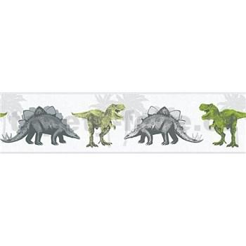 Detské vliesové bordúry Little Stars dinosaury zeleno-hnedí