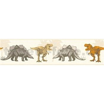 Detské vliesové bordúry Little Stars dinosaury oranžovo-hnedí