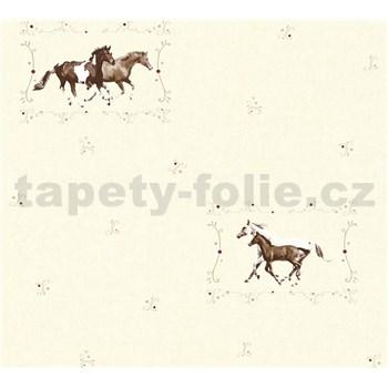 Detské vliesové tapety na stenu Little Stars kone na krémovom podklade