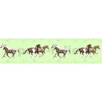 Detské vliesové bordúry Little Stars kone na zelenom podklade