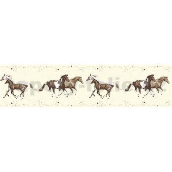 Detské vliesové bordúry Little Stars kone na krémovom podklade