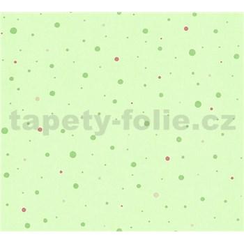 Detské vliesové tapety na stenu Little Stars bodky zelené a ružové na zelenom podklade