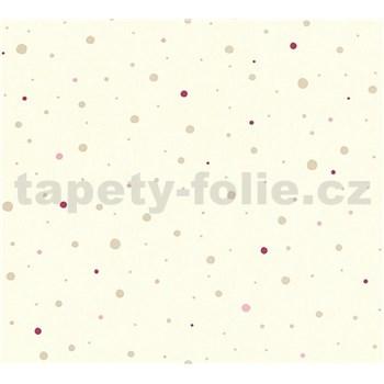 Detské vliesové tapety na stenu Little Stars bodky zlaté a ružové na krémovom podklade