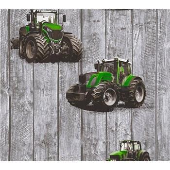 Detské vliesové tapety na stenu Little Stars traktory zelené na drevených doskách