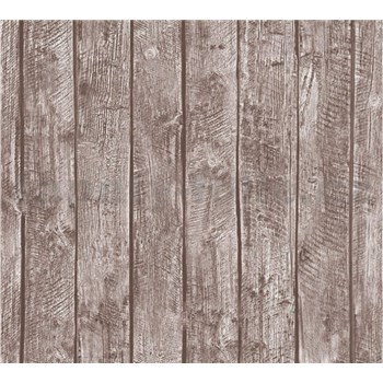 Detské vliesové tapety na stenu Little Stars drevené dosky hnedé