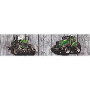 Detské vliesové bordúry Little Stars traktory zelené na drevených doskách