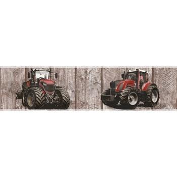 Detské vliesové bordúry Little Stars traktory červené na drevených doskách