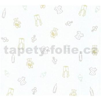 Detské vliesové tapety na stenu Little Stars medvedíky a oblečenie krémovo-strieborné