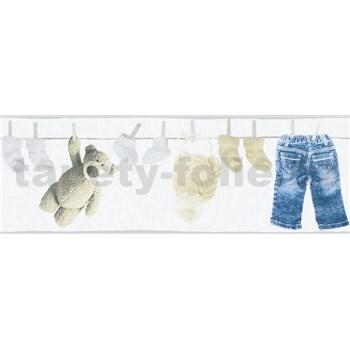 Detské vliesové bordúry Little Stars detské oblečenie modro-hnedé