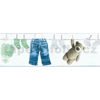 Detské vliesové bordúry Little Stars detské oblečenie modro-zelené