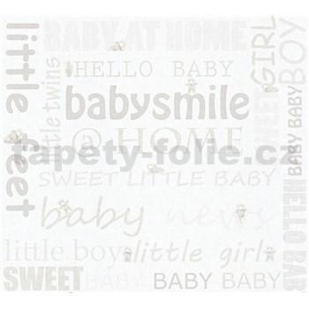 Detské vliesové tapety na stenu Little Stars medvedíky so svetlo hnedými nápismi
