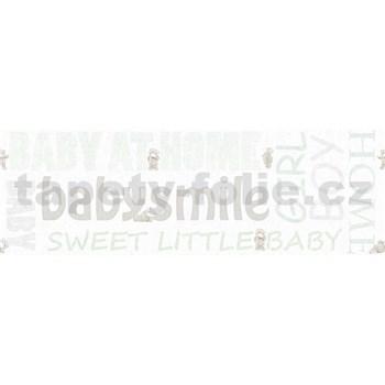 Detské vliesové bordúry Little Stars medvedíky zo zelenými nápismi