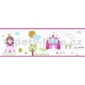 Detské vliesové bordúry Little Stars princezná a žabka na bielom podklade