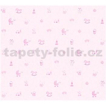 Detské vliesové tapety na stenu Little Stars detské hračky ružové