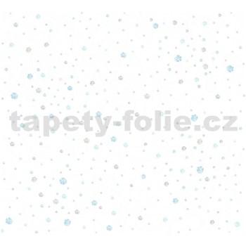Detské vliesové tapety na stenu Little Stars balóniky modro-hnedé