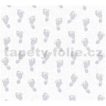 Detské vliesové tapety na stenu Little Stars detské stopy strieborné