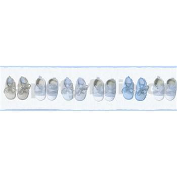 Detské vliesové bordúry Little Stars papučky modro-hnedé