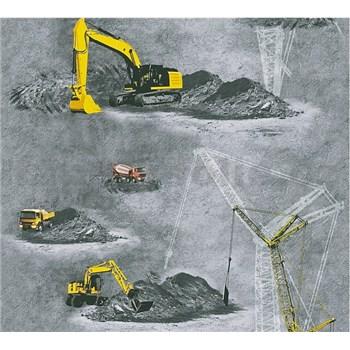 Detské vliesové tapety na stenu Little Stars stavebné stroje žlté na sivom podklade