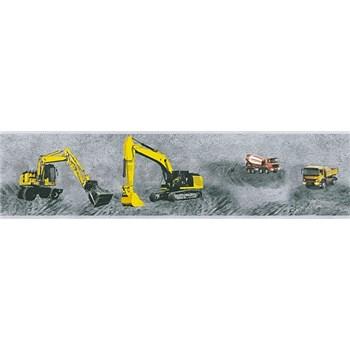 Detské vliesové bordúry Little Stars stavebné stroje žlté na sivom podklade