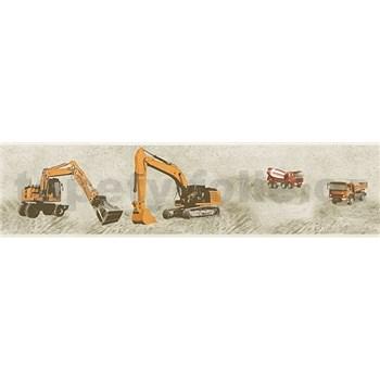 Detské vliesové bordúry Little Stars stavebné stroje oranžové na hnědom podklade