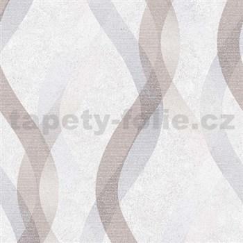 Vliesové tapety na stenu LIVIO vlnovky modro-hnedé na krémovom podklade