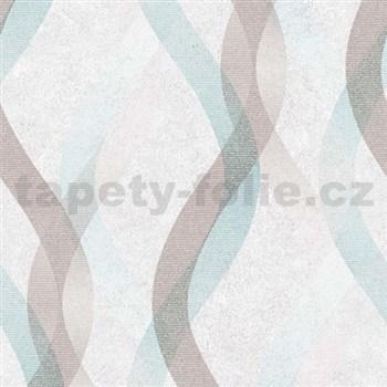 Vliesové tapety na stenu LIVIO vlnovky hnedo-modré na krémovom podklade