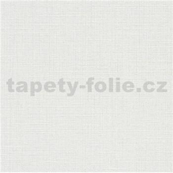 Vliesové tapety na stenu IMPOL Luna textilná štruktúra biela so strieborným ligotom