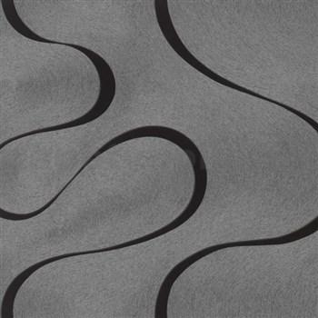 Vliesové tapety na stenu Colani Visions vlnovky čierne na striebornom podklade