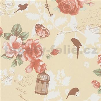 Vliesové tapety na stenu Zuhause Wohnen3 - Vintage Bird oranžové