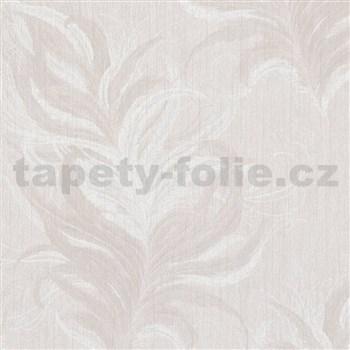 Vliesové tapety IMPOL Mata Hari pierka bielo-béžové so striebornými detailmi na krémovom podklade