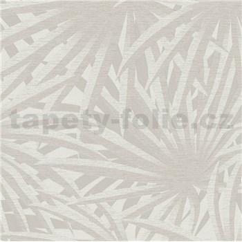 Vliesové tapety na stenu Metropolitan Stories palmové listy svetlo sivé na krémovom podklade