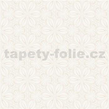 Vliesové tapety na stenu Mixing kvetinky vytláčané biele