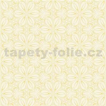 Vliesové tapety na stenu Mixing kvetinky vytláčané žlté - POSLEDNÉ KUSY