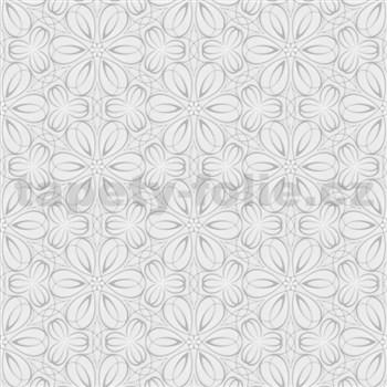 Vliesové tapety na stenu Mixing kvetinky vytláčané sivé - POSLEDNÉ KUSY