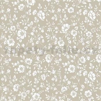 Vliesové tapety na stenu Mixing kvety biele na hnedom podklade