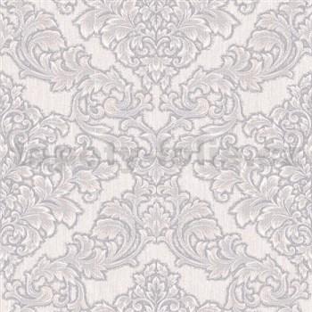 Vliesové tapety na stenu Mixing zámocký vzor bielo-hnedý na sivom podklade - POSLEDNÉ KUSY