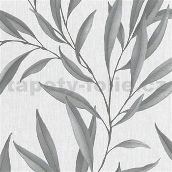 Vliesové tapety na stenu IMPOL Modernista listy strieborné s laserovým efektom na sivom podklade