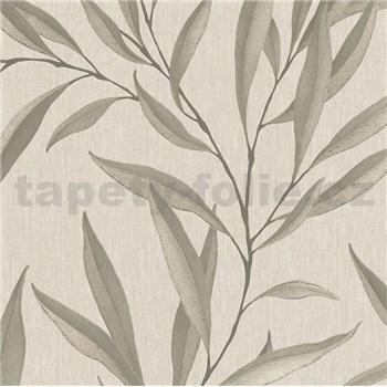 Vliesové tapety na stenu IMPOL Modernista listy niklové s laserovým efektom na hnedom podklade