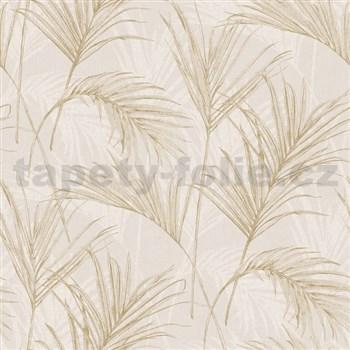 Vliesové tapety na stenu My Raid listy hnedo biele na svetlo hnedom podklade