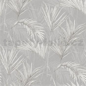 Vliesové tapety na stenu My Raid listy sivo biele na sivom podklade