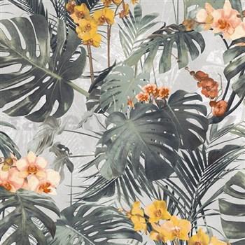 Vliesové tapety na stenu My Raid palmové listy s žltými kvetmi orchidejí na sivom podklade