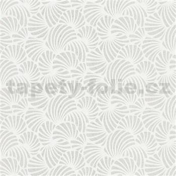 Vliesové tapety na stenu Nabucco malý vejárovitý vzor strieborný na bielom podklade