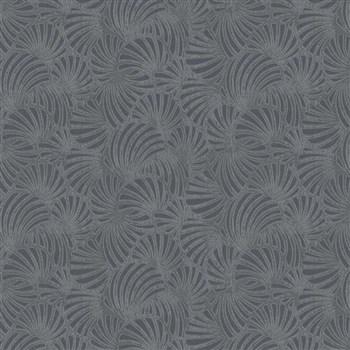 Vliesové tapety na stenu Nabucco malý vejárovitý vzor tmavo sivý s metalickými odleskami