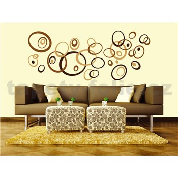 Samolepky na stenu Brown Circles 50 cm x 70 cm
