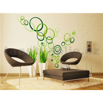 Samolepky na stenu Green Circles 50 cm x 70 cm