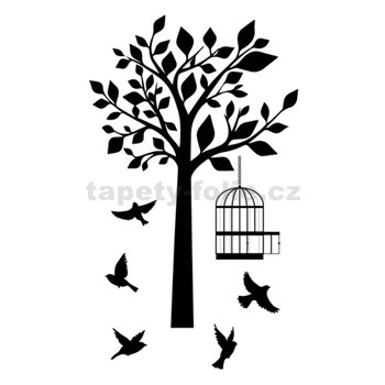 Samolepky na stenu ptáci a strom