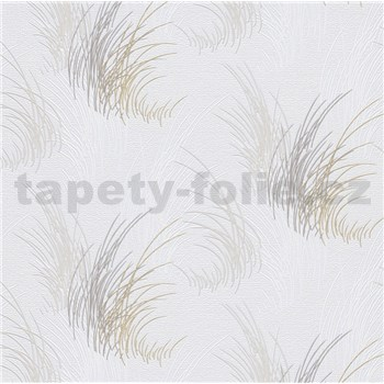 Vliesové tapety na stenu Natalia tráva sivá na bielom podklade