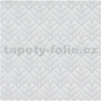 Vliesové tapety na stenu Natalia moderný vzor lístky sivé