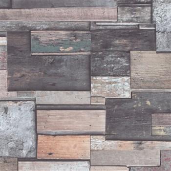 Vliesové tapety na stenu Natalia obklad z dreva hnedo-sivý